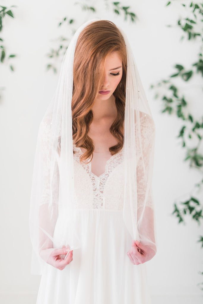 Crystal adorned English net bridal veil - gathered - Tessa Kim