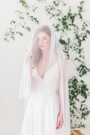 English net bridal veil with blusher - Tessa Kim
