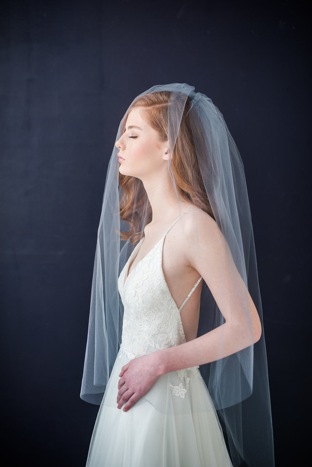 Illusion tulle bridal veil with blusher - Tessa Kim