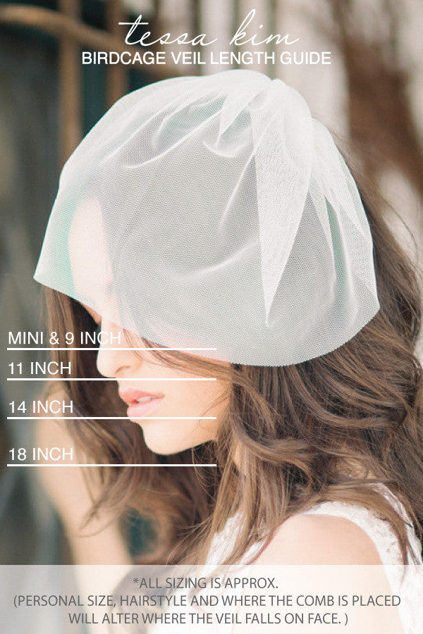 Bridal birdcage veil - multiple lengths colors - ready to ship - Tessa Kim