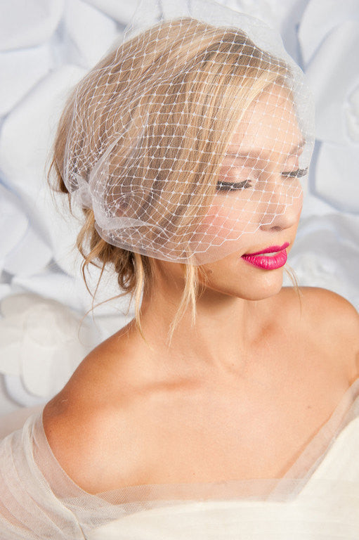 Double layer bandeau birdcage veil - ready to ship - Tessa Kim