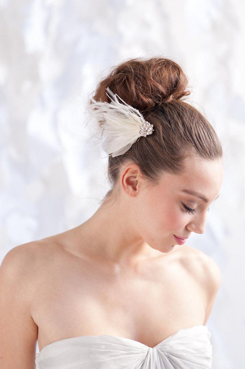 Feather bridal headpiece fascinator- style 1109 - Tessa Kim