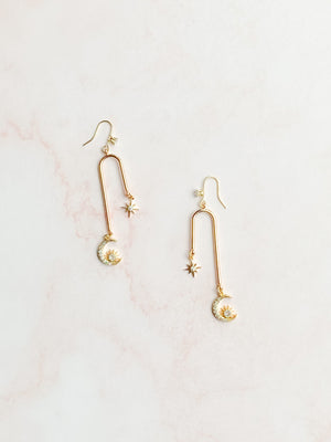 18k Gold moon and star drop dangle earrings - style 7004 - ready to ship - Tessa Kim