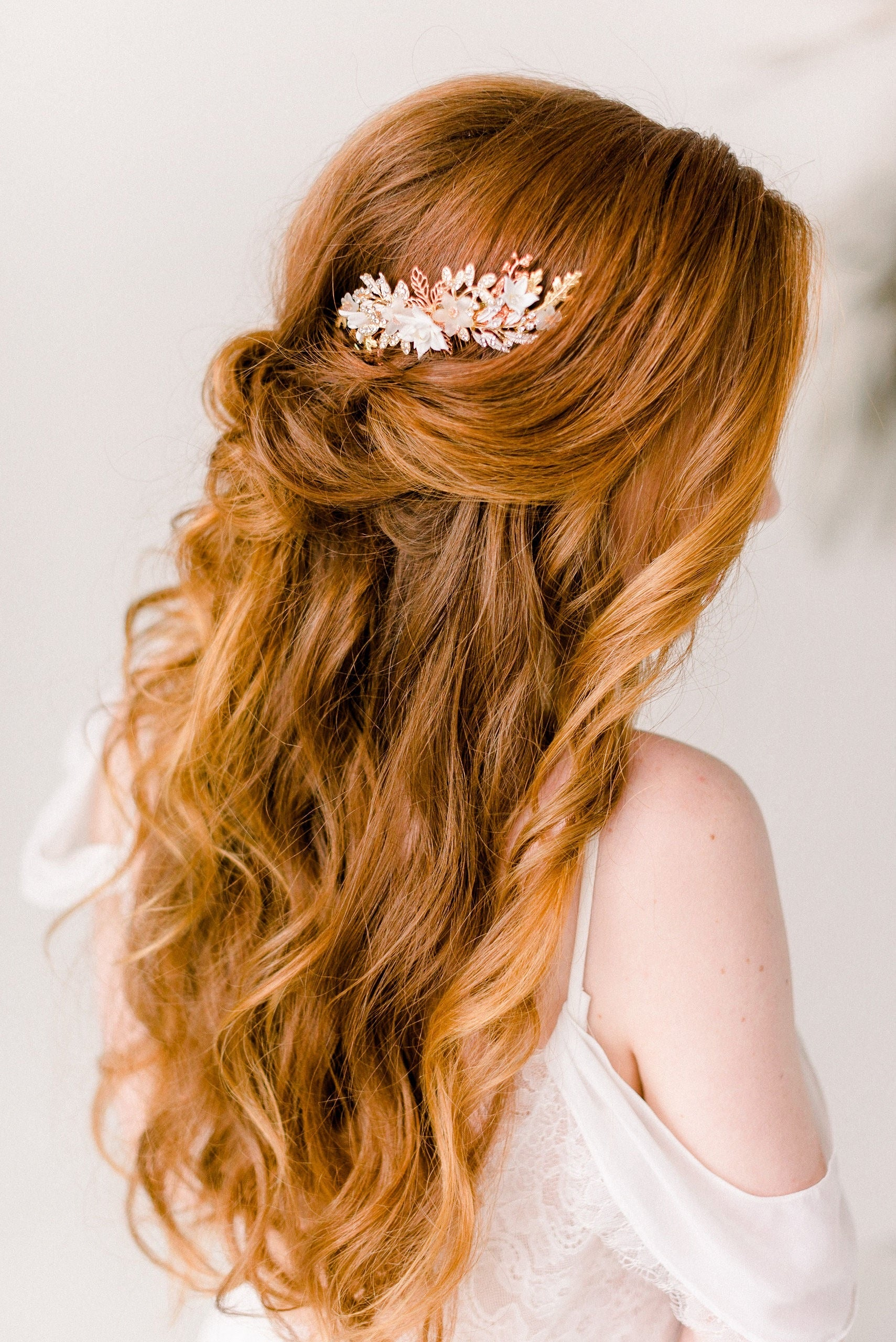 Rose gold blush flower comb - Style 4002- Ready to ship - Tessa Kim