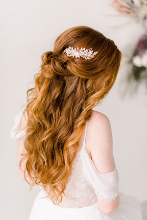 Rose gold blush flower comb - Style 4002 - Tessa Kim