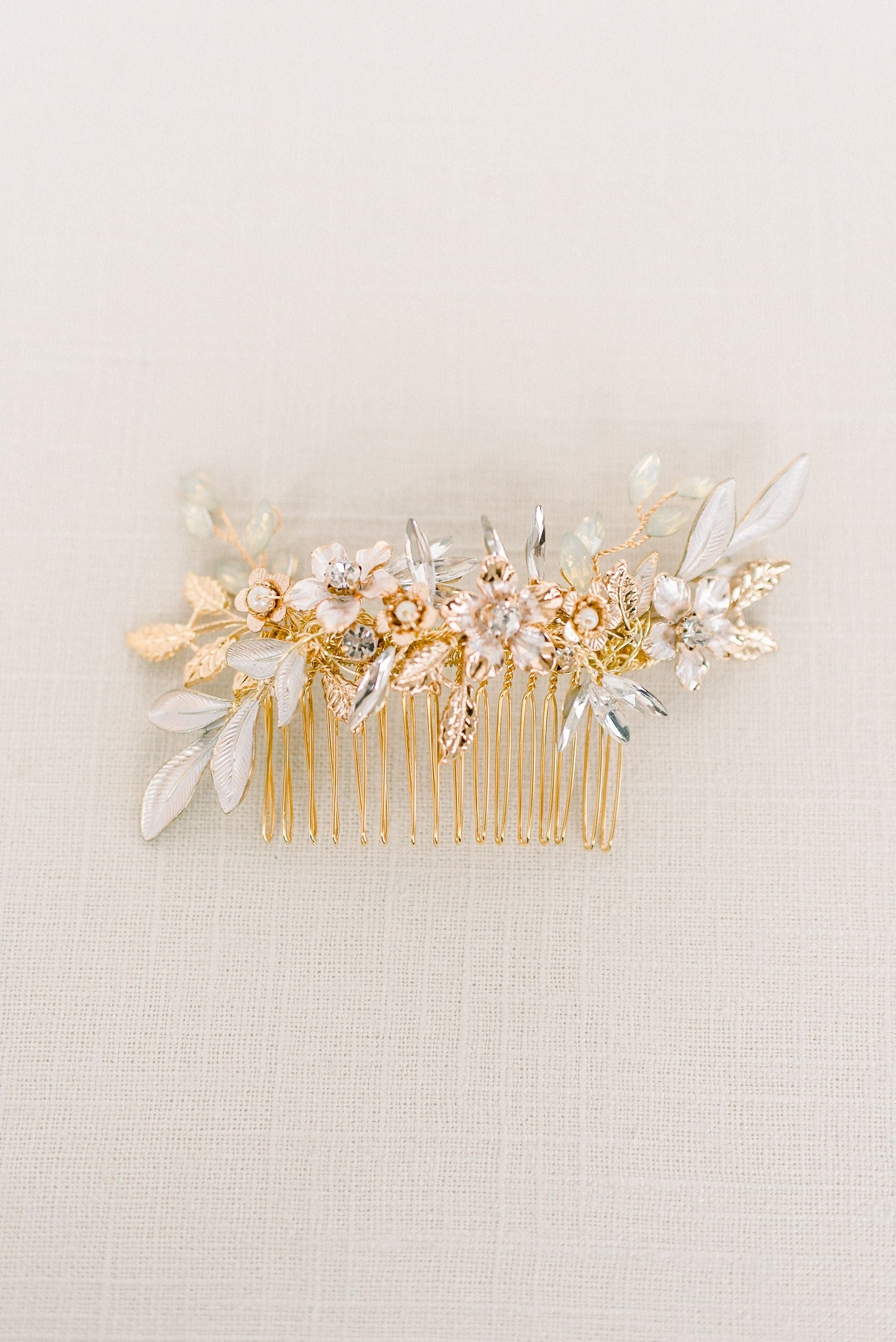 Gold and rhinestone floral hair comb - style 4001 - Tessa Kim