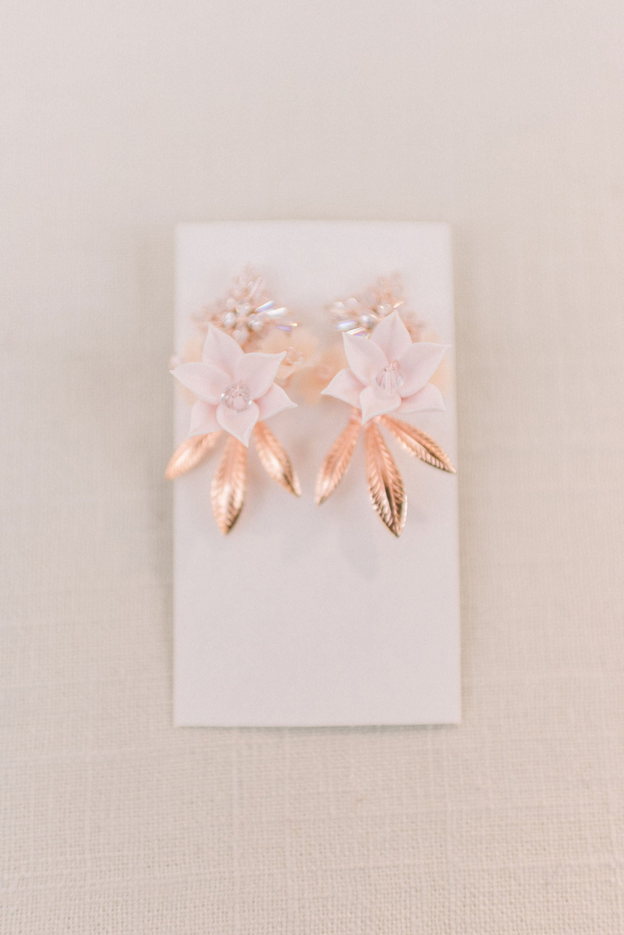Rose gold and blush floral earrings - Style 6002 - Tessa Kim