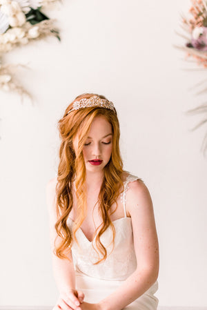 Blush and gold tiara crown - style 4012 - Tessa Kim