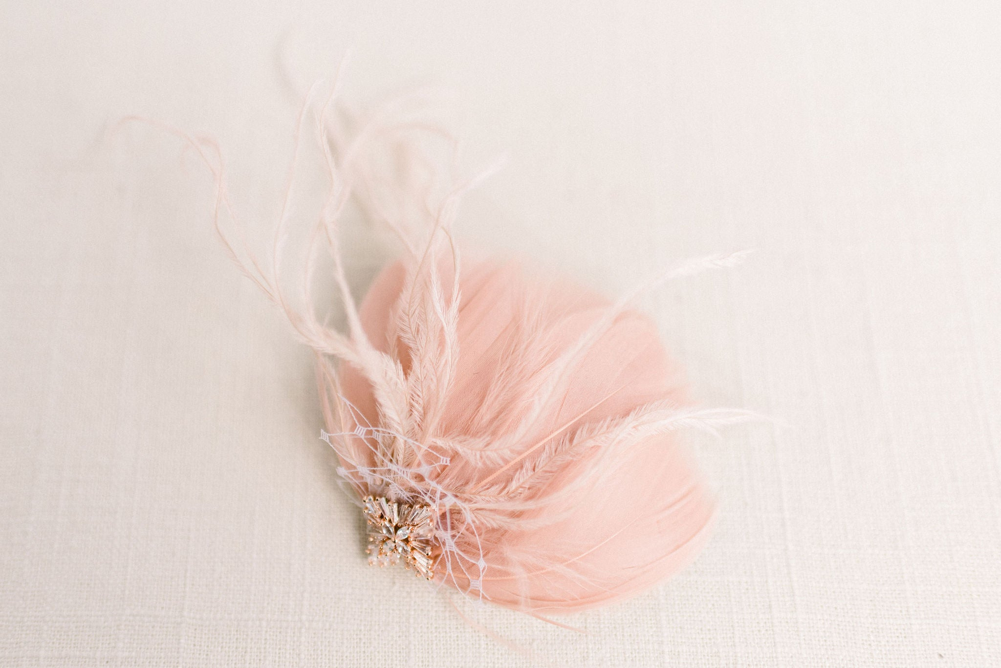 Blush feather headpiece - Style 5009 - Ready to ship - Tessa Kim