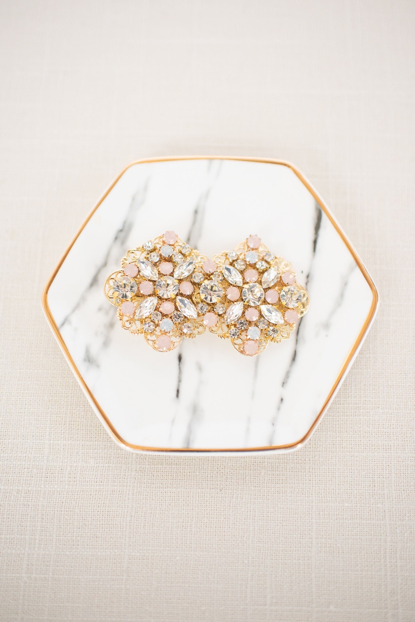 Rhinestone blush gold veil hair clip - style 4004 - Ready to ship - Tessa Kim