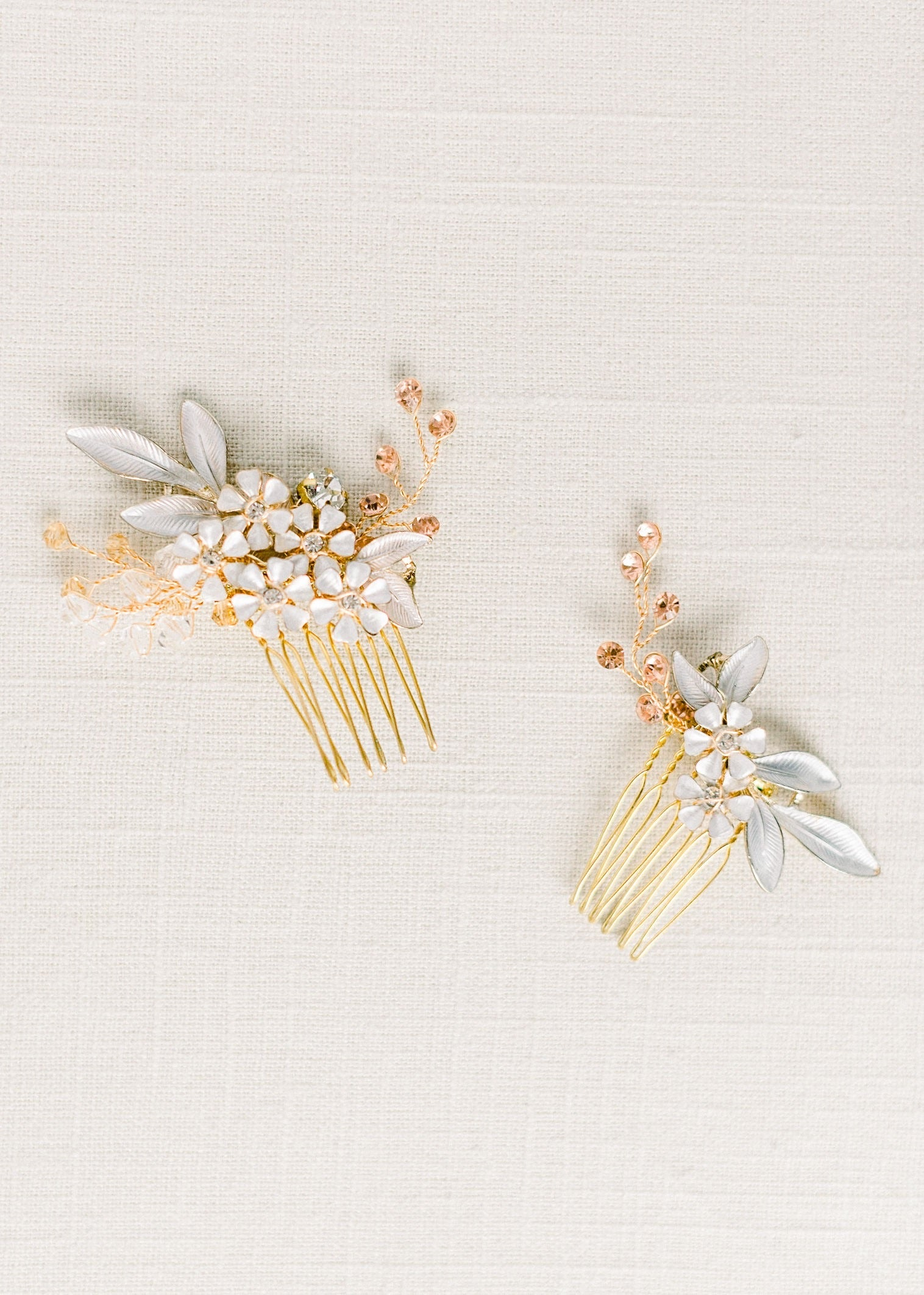 Flower rhinestone hair comb set - Style 4007 - Ready to ship - Tessa Kim
