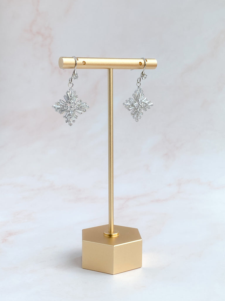 Star flower silver dangle earrings- style 7007 - ready to ship - Tessa Kim