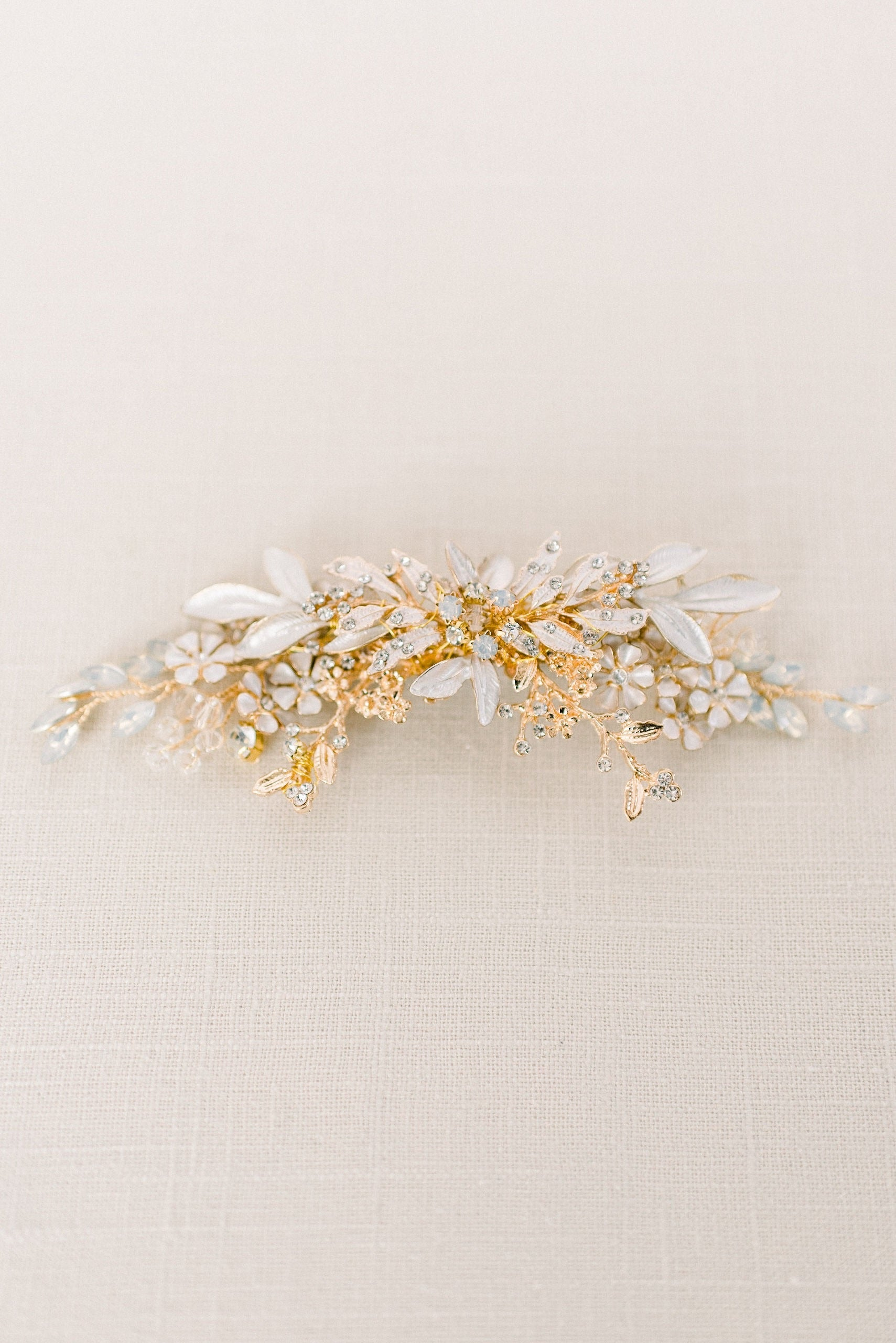 Opal and gold rhinestone headpiece - style 4003 - Ready to ship - Tessa Kim