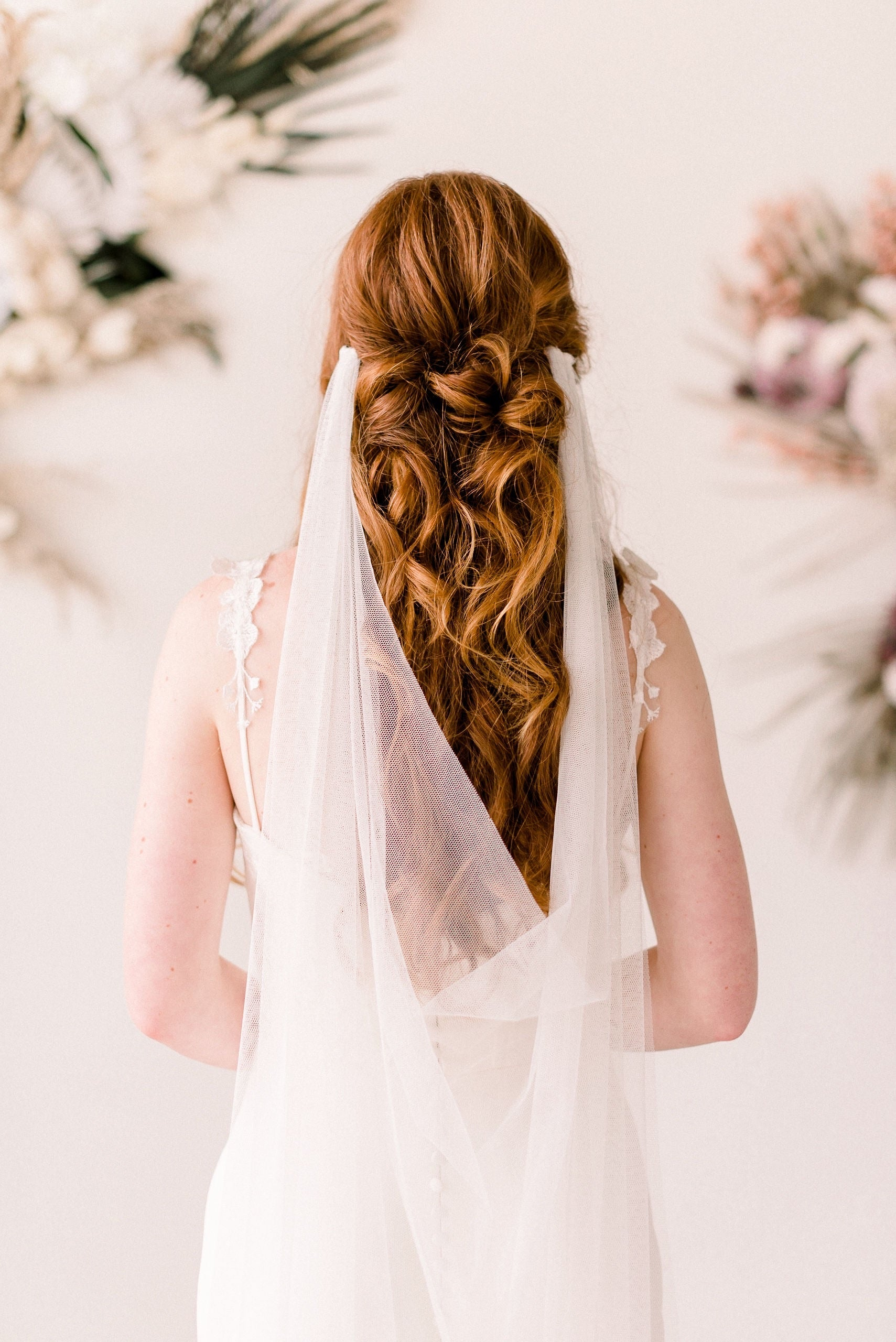 Bridal English net draped veil - Tessa Kim
