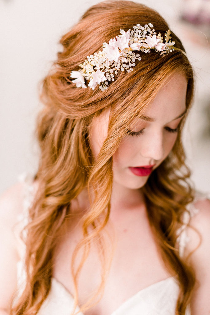 Cherry blossom golden headband - style 4011- Ready to ship - Tessa Kim