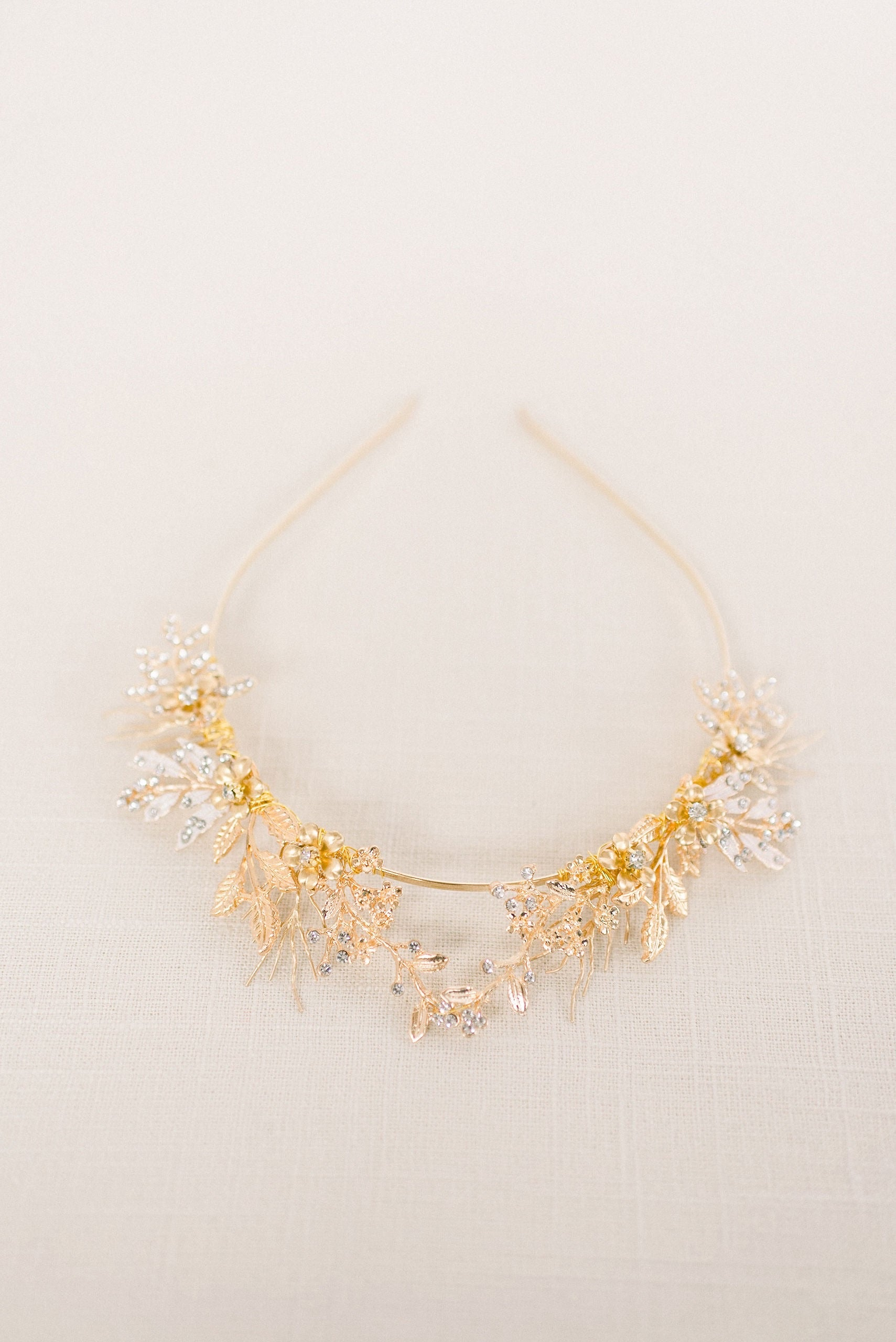 Gold woodland tiara crown - style 4010 - Tessa Kim