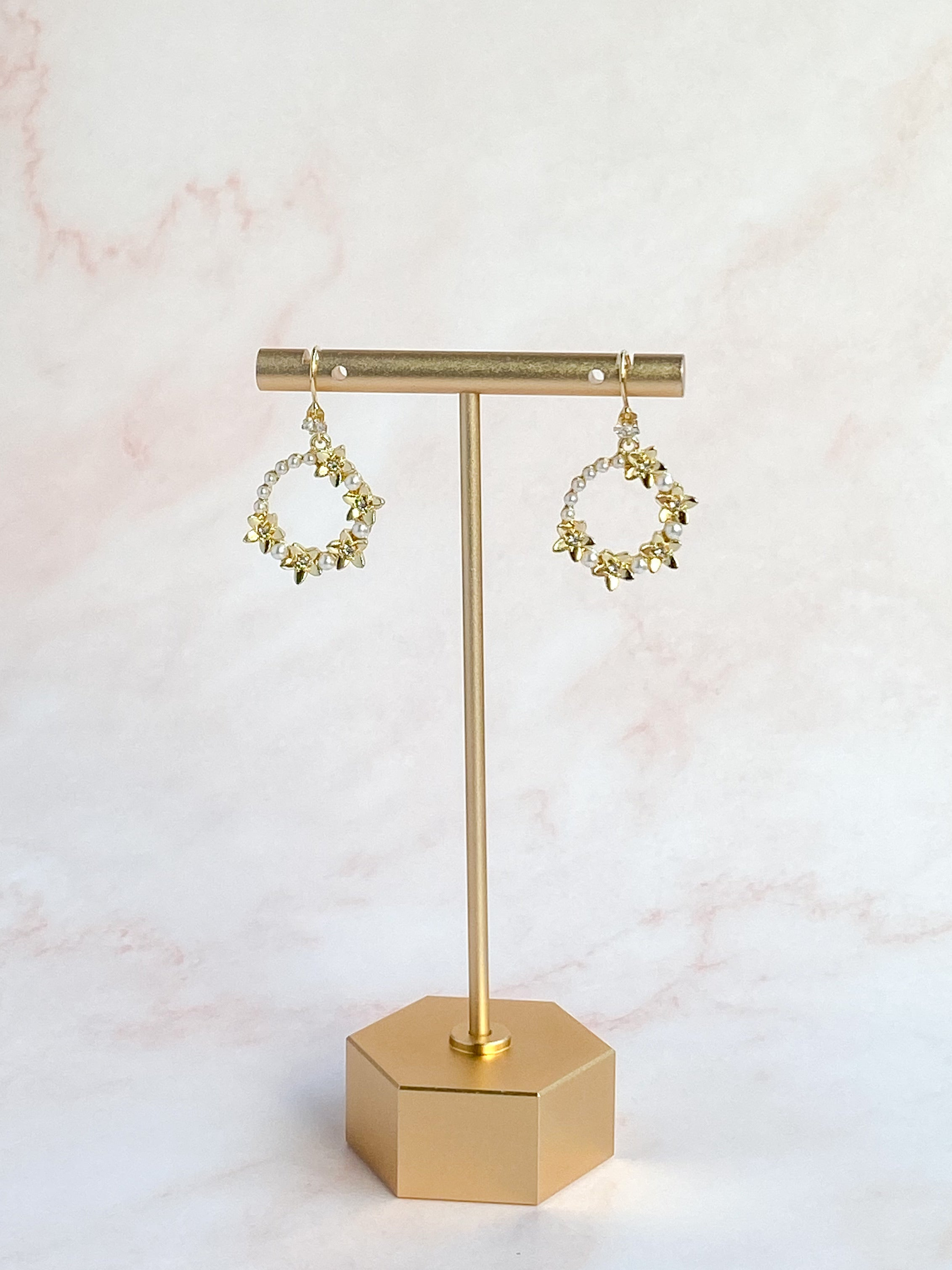 Golden pearl floral earring - style 7009 - ready to ship - Tessa Kim