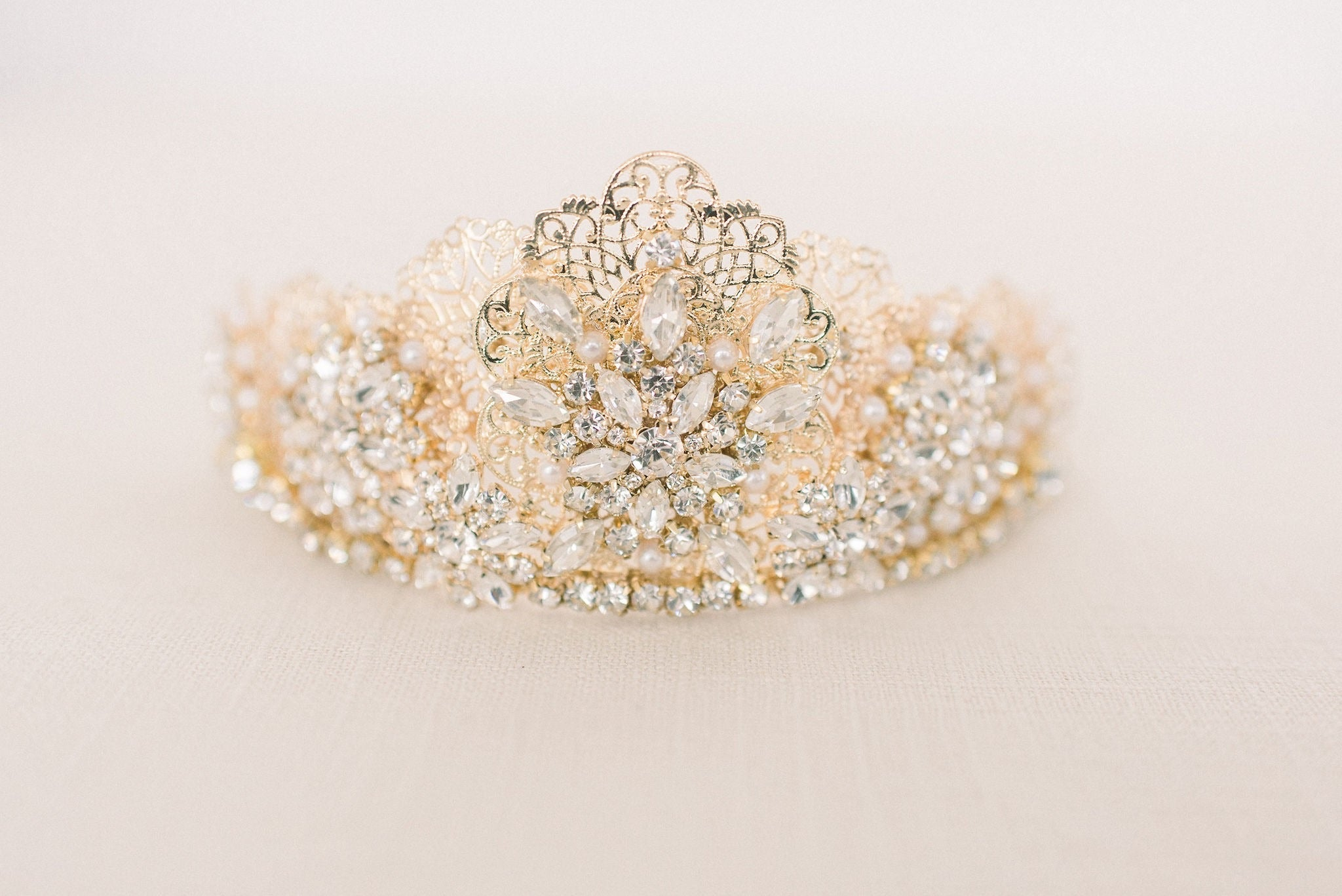 Gold rhinestone bridal crown - style 4013 - Tessa Kim