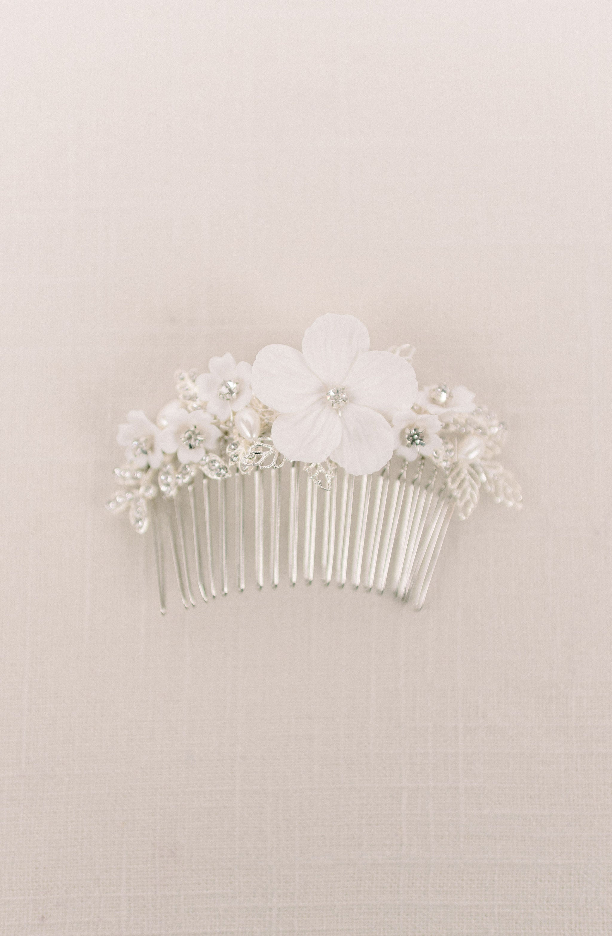 Silver clay flower headpiece - style 5006 - Tessa Kim