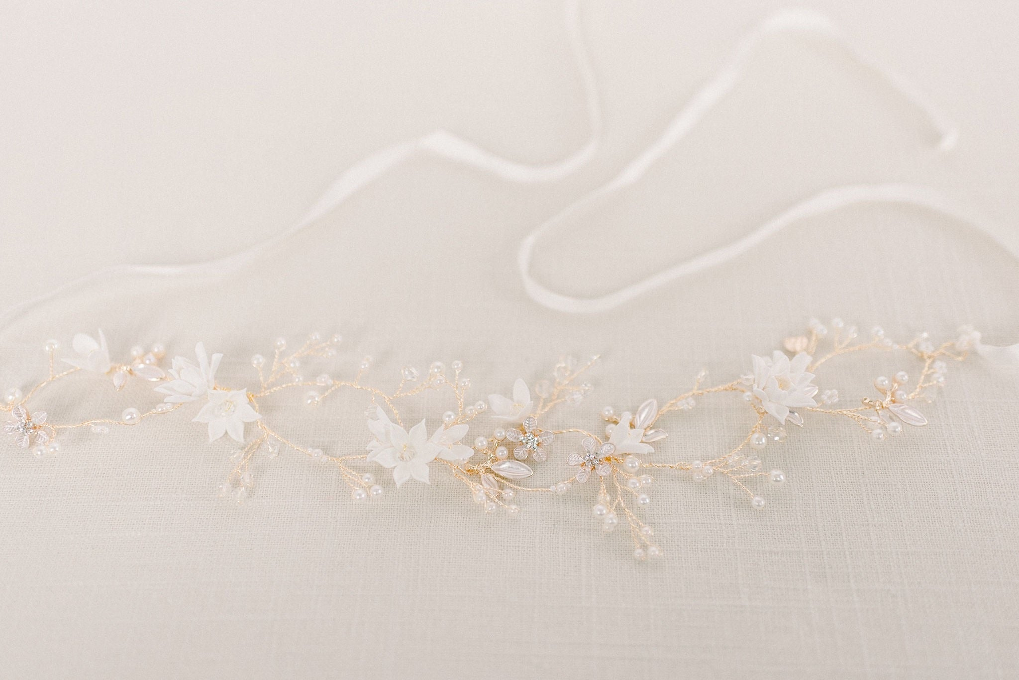 Gold clay flower hair wrap - style 4014 - Tessa Kim