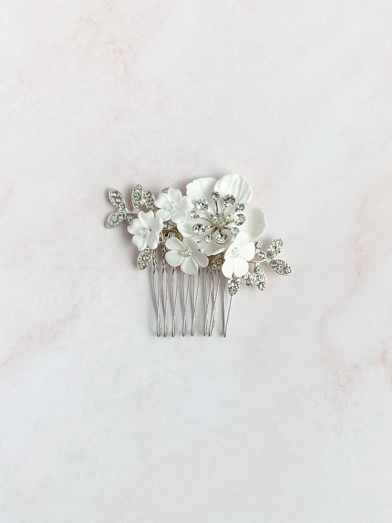 Silver clay rhinestone hair comb - style 7001 - ready to ship - Tessa Kim