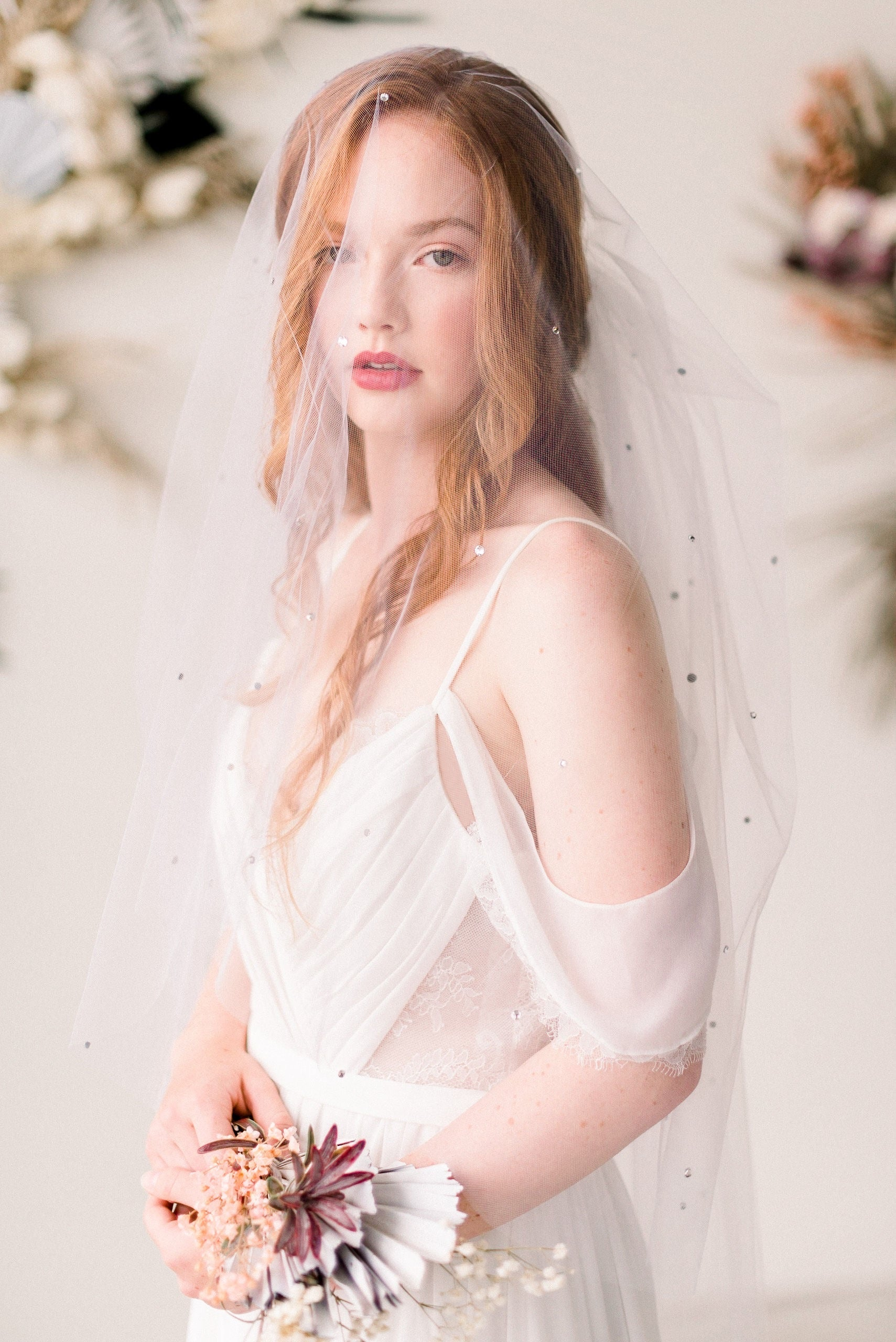 Blusher illusion tulle bridal veil with crystals - Tessa Kim