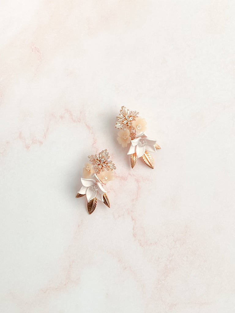 Rose gold and blush floral earrings - Style 6002 - ready to ship - Tessa Kim