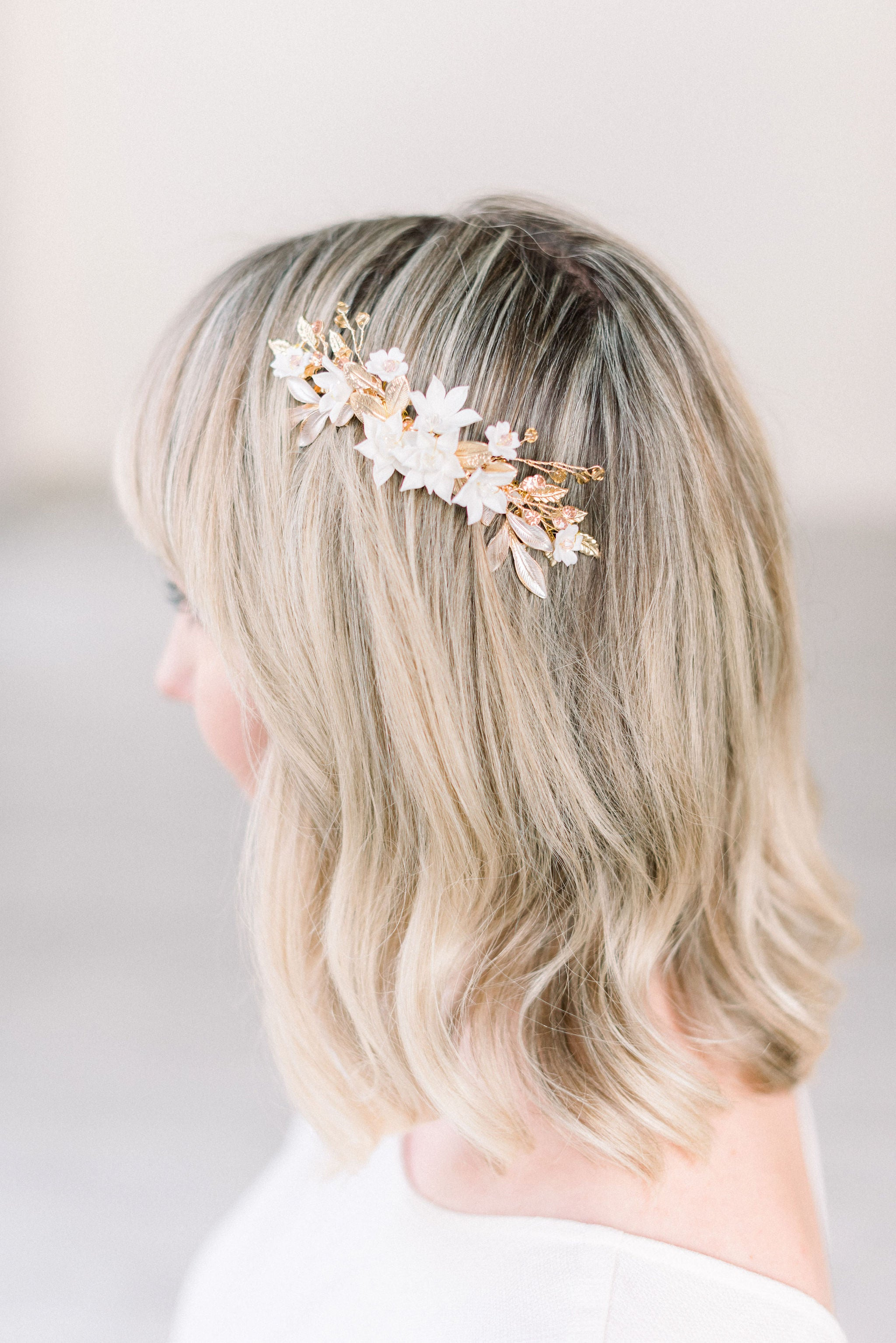 Blush and gold floral hair comb - style 5002 - Ready to ship - Tessa Kim