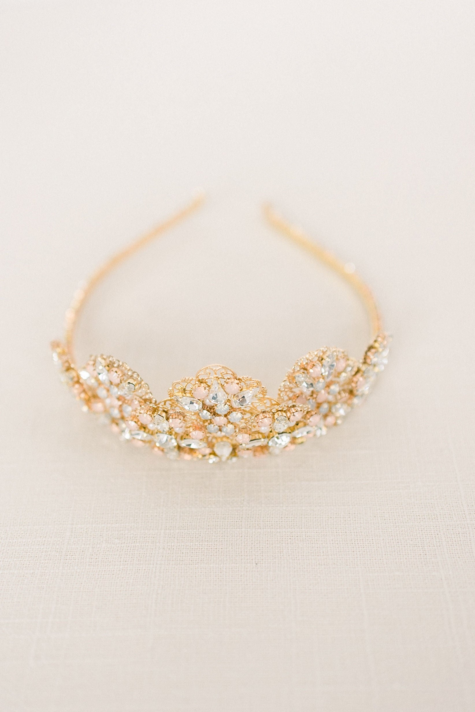 Blush and gold tiara crown - style 4012 - Ready to ship - Tessa Kim