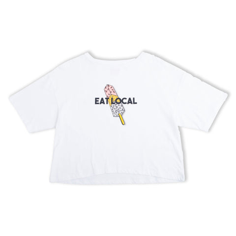Eat Local Ladies Crop White