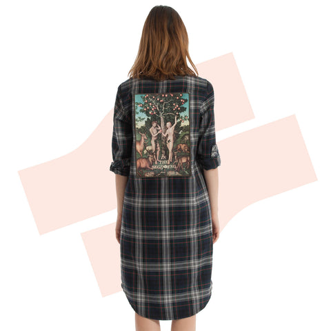 Temptation In The Garden Flannel Shirt Dress Multicolour