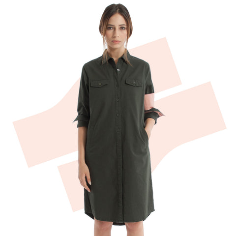 Unit Shirt Dress Forest Green