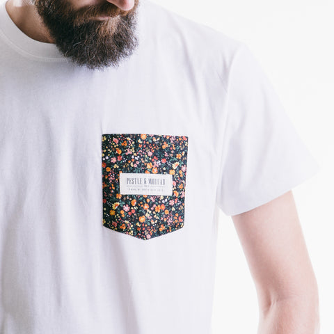 Flower Bomb Pocket Tee White
