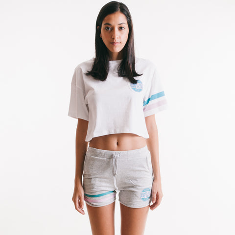 Come Out and Play Crop Top White/Pink