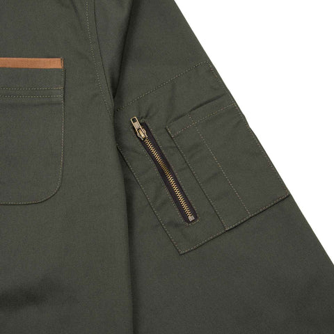 Landing Jacket Green flatlay - closeup sleeve