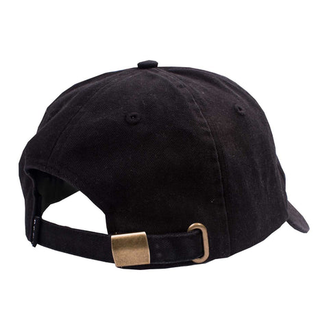 Logo 6 Panel Black flatlay - back diagonal