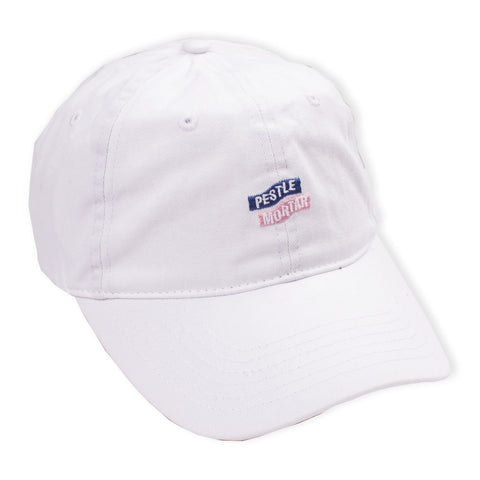 Logo 6 Panel White flatlay - front diagonal