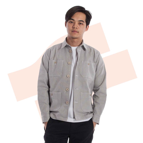 Majapahit Pinstripe Chore Jacket Denim Grey