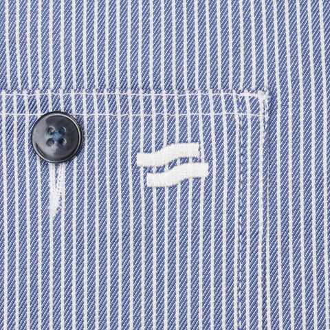 Majapahit Pinstripe Chore Jacket Denim Blue