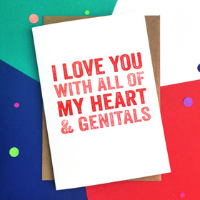 Funny heart and genitals card