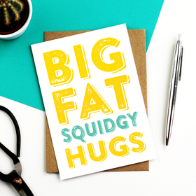 Big fat Hugs yellow and turquoise card