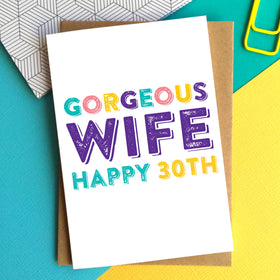 Gorgeous wife personalised card