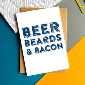 Beer beards bacon card
