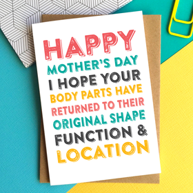 Mother's day body parts card
