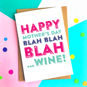 Happy Mothers day blah wine card