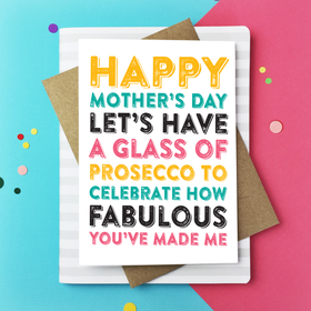 Happy Mothers day Celebrate with prosecco card