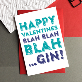 Happy Valentines blah gin card