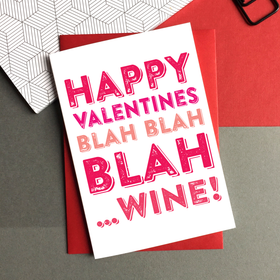 Happy Valentines blah wine card