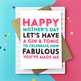 Happy Mothers day Celebrate with gin card