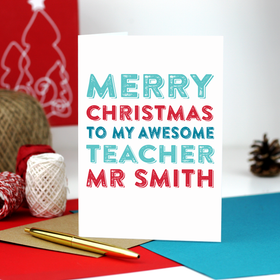 Personalised teacher card xmas